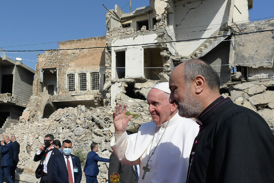 Pope Francis visits Mosul on March 7, 2021